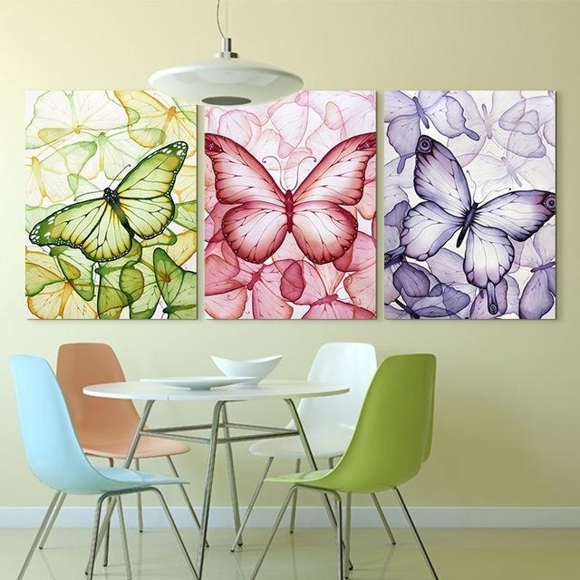 3 Piece Colorful Butterfly Wall Painting Art Hd Printed Picture For Butterflies Canvas Wall Art (Photo 10 of 20)