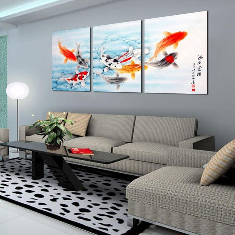 3 Piece Koi Fish Wall Art Chinese Painting Wall Art On Canvas Home In Koi Canvas Wall Art (Photo 6 of 20)
