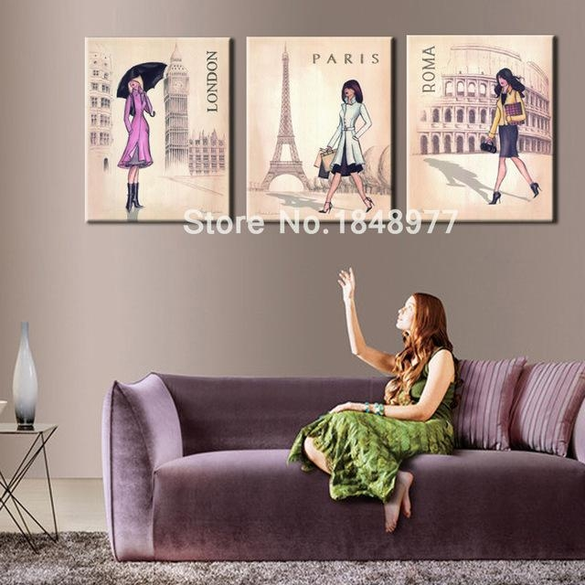 3 Piece Lager Wall Art Canvas Modern Women Paris London Rome In Canvas Wall Art Of Rome (Image 2 of 20)