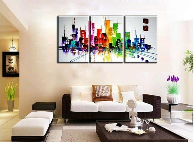 3 Piece Modern Canvas Wall Art Triptych Muti Abstract City Within Modern Canvas Wall Art (Image 4 of 20)