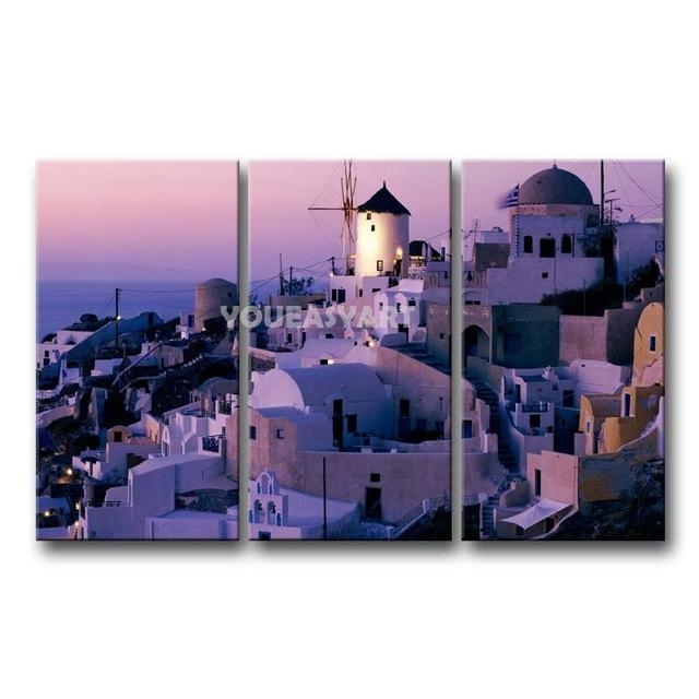 3 Piece Purple Painting On Canvas Wall Art Greece Santorini Mill In Greece Canvas Wall Art (Image 3 of 20)