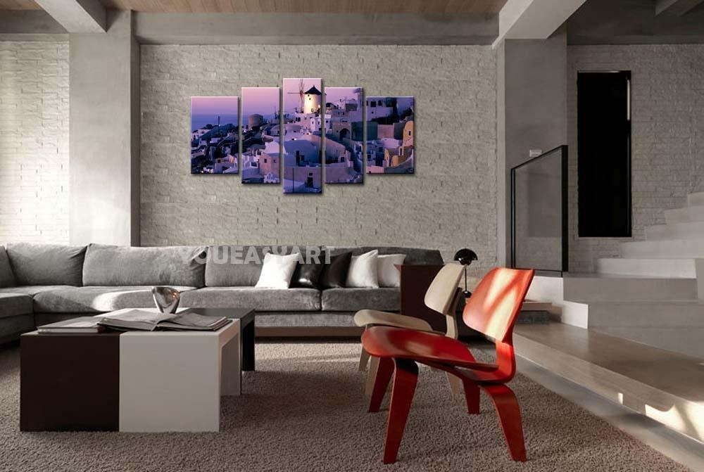3 Piece Purple Painting On Canvas Wall Art Greece Santorini Mill Regarding Greece Canvas Wall Art (Image 4 of 20)