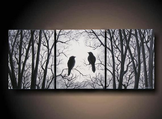 "3 Piece Set Wall Art, Birds On Tree, Three 8"" X 10"" Piece Canvas Inside Birds Canvas Wall Art (Image 2 of 20)"
