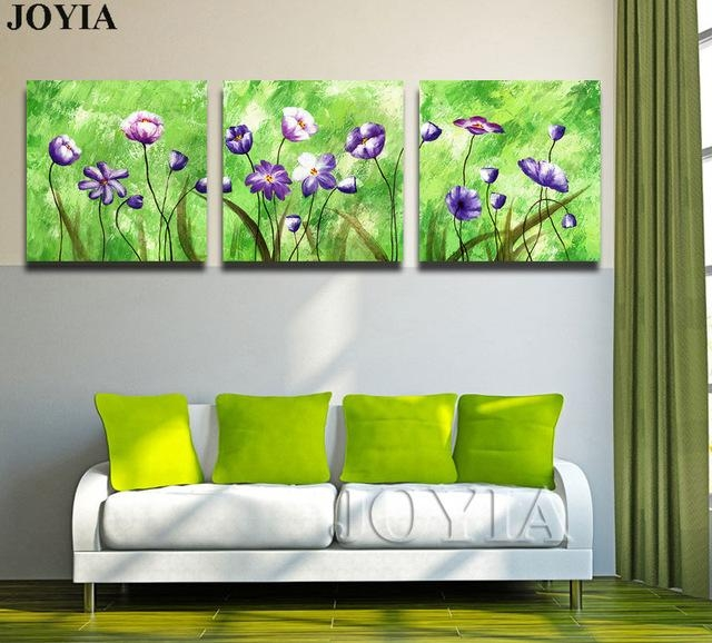 3 Piece Triple Paintings Set Abstract Floral Wall Art Printed Throughout Abstract Floral Canvas Wall Art (Image 3 of 20)