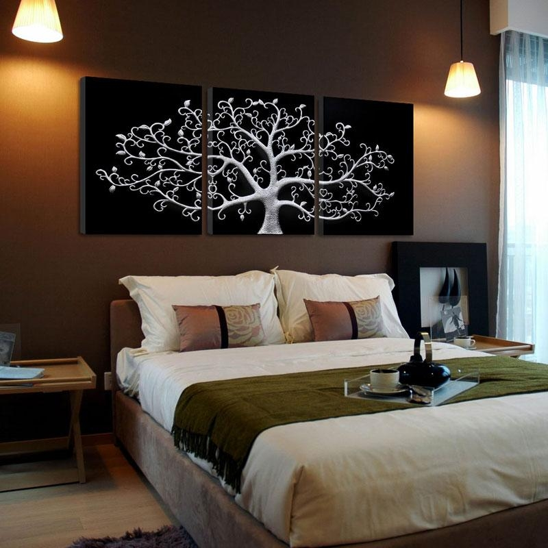 3 Piece Wall Abstract Metal Wall Art Tree Canvas Print Tree Within Bedroom Canvas Wall Art (Photo 10 of 20)