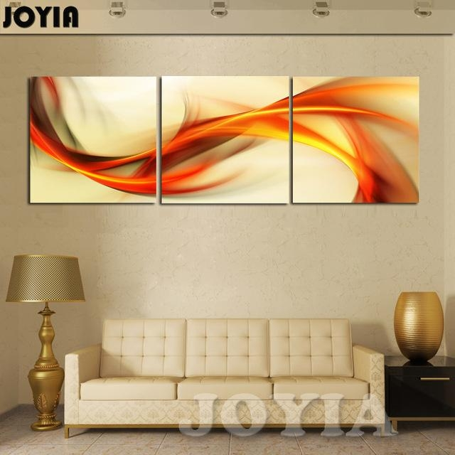 3 Piece Wall Art Abstract Painting Home Decoration Modern Picture Within Orange Canvas Wall Art (View 5 of 20)