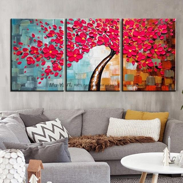3 Piece Wall Art Decor Red Tree Abstract Knife Acrylic Flower Intended For Abstract Canvas Wall Art Iii (Image 4 of 20)