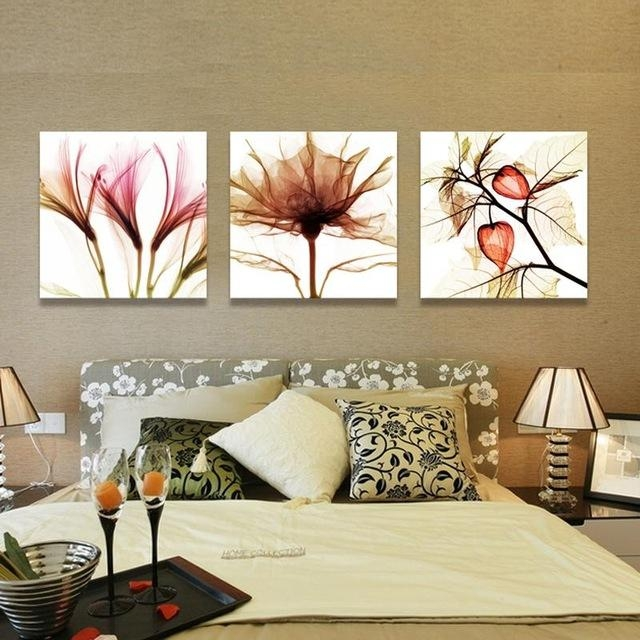 3 Piece Wall Art Flower Abstract Paintings Flower Art Canvas Throughout Kohl's Canvas Wall Art (Image 1 of 20)