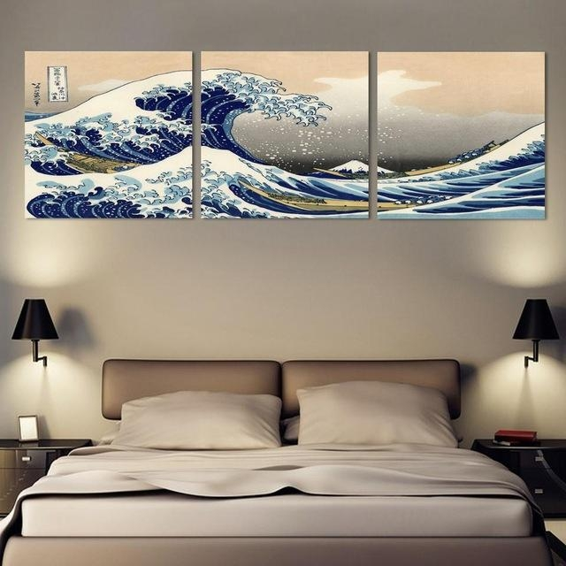 3 Piece Wall Art Japanese Art Painting Canvas Posters And Print Throughout Japanese Canvas Wall Art (Image 2 of 20)