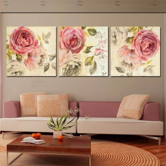 3 Piece Wall Art Painting Classic Flower Rose Canvas Prints Home Pertaining To Roses Canvas Wall Art (View 3 of 20)