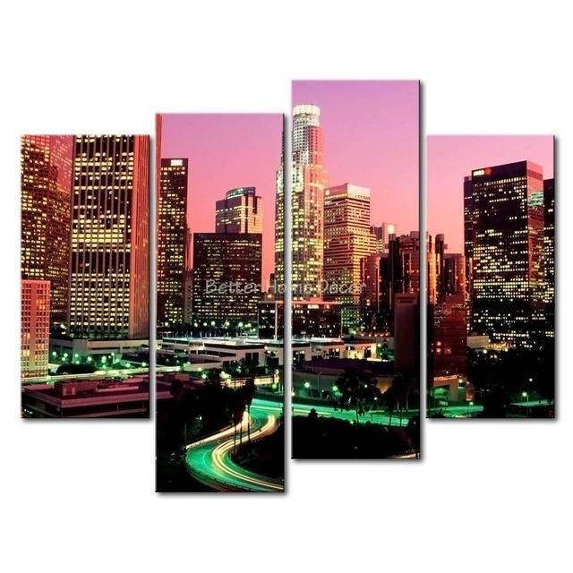 3 Piece Wall Art Painting Los Angeles With Nice Night Scene Print With Los Angeles Canvas Wall Art (Image 2 of 20)