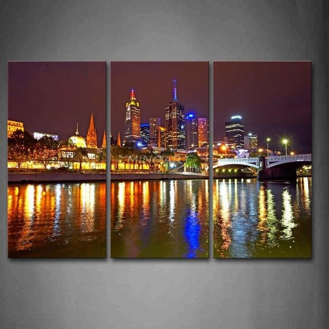 3 Piece Wall Art Painting Melbourne City Is Very Busy Print On Throughout Canvas Wall Art In Melbourne (Image 1 of 20)