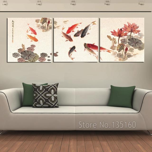 3 Piece Wall Art Picture Traditional Chinese Calligraphy Painting Intended For Koi Canvas Wall Art (Photo 2 of 20)