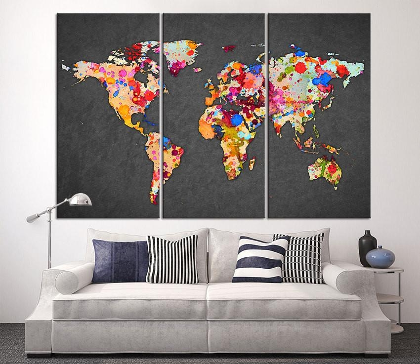 3 Piece World Map Canvas Print On Gray Background, Large World Map With Maps Canvas Wall Art (View 9 of 20)