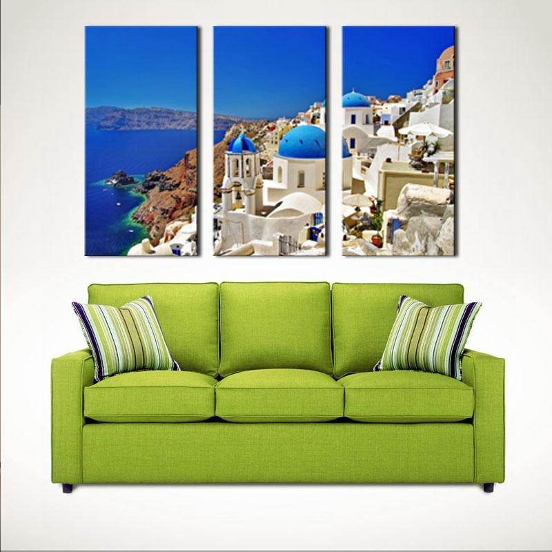 3 Pieces Aegean Sea Paintings Artwork Santorini Landscape Picture Regarding Greece Canvas Wall Art (Photo 15 of 20)