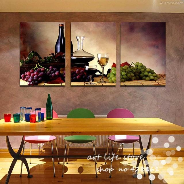 3 Pieces Free Shipping Modern Wall Oil Painting Abstract Wine Within Abstract Kitchen Wall Art (Image 3 of 20)