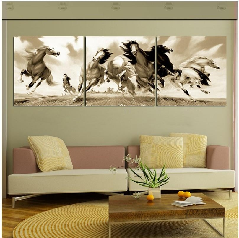 3 Pieces Hot Selling Modern Wall Painting Running Horse Decorative With Horses Canvas Wall Art (Image 4 of 20)