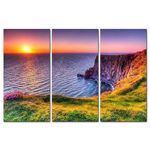 3 Pieces Modern Canvas Destination Cliffs Of Moher Beach At Sunset For Ireland Canvas Wall Art (View 6 of 20)