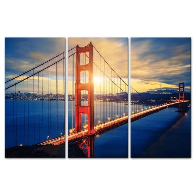 3 Pieces Modern Canvas Painting Wall Art Famous Golden Gate Bridge Intended For Golden Gate Bridge Canvas Wall Art (Image 3 of 20)
