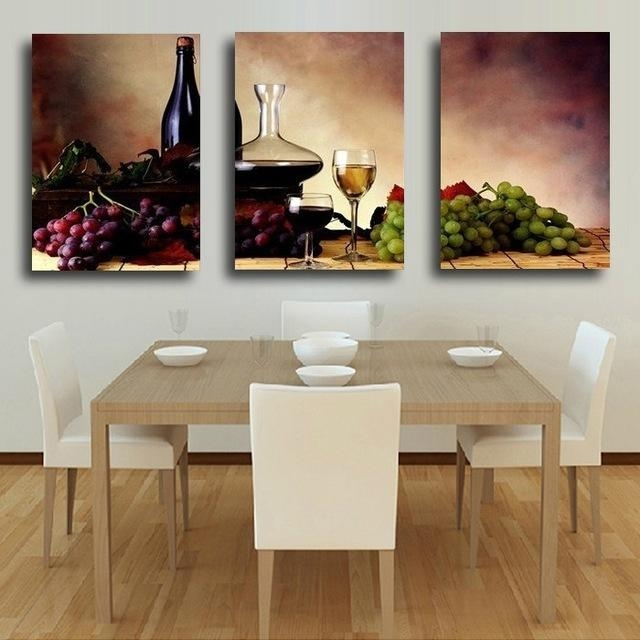 3 Pieces Modern Wall Oil Painting Abstract Wine Fruit Kitchen Wall Intended For Abstract Kitchen Wall Art (Image 5 of 20)