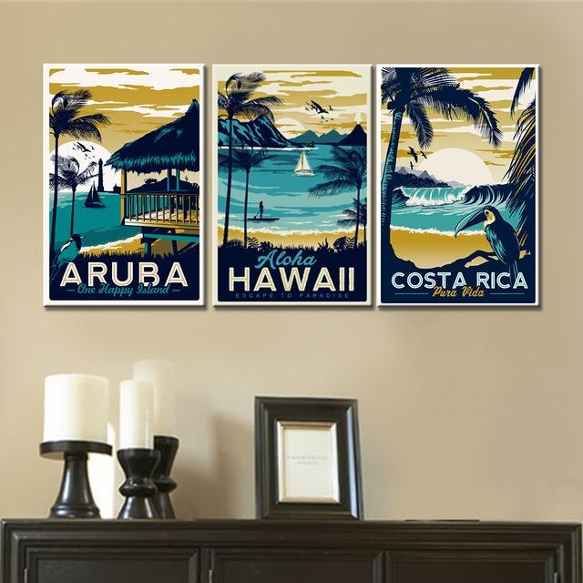 3 Pieces Wall Art Canvas Paintings Hawaii Aruba Costa Rica For Hawaii Canvas Wall Art (Photo 13 of 20)