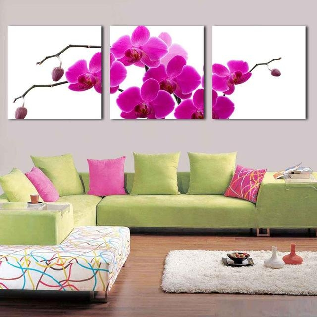 3 Plate Canvas Wall Art Modern Abstract Acrylic Flower Purple With Regard To Orchid Canvas Wall Art (Image 1 of 20)