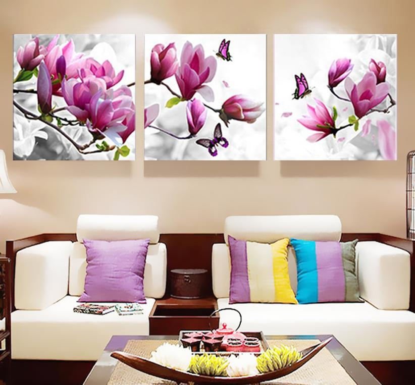 3 Unids Impresión Del Cartel De La Lona Pared Art Pink Orquídeas With Regard To Orchid Canvas Wall Art (Image 2 of 20)