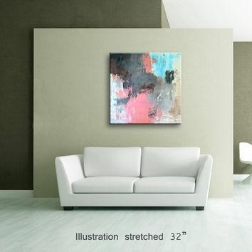 "36"" Pink Light Blue Gray Brown Black From Editvorosart Pertaining To Light Abstract Wall Art (Photo 9 of 20)"