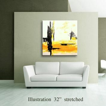 "36"" Yellow Gray Black Original From Editvorosart On Etsy For Yellow And Grey Abstract Wall Art (View 20 of 20)"
