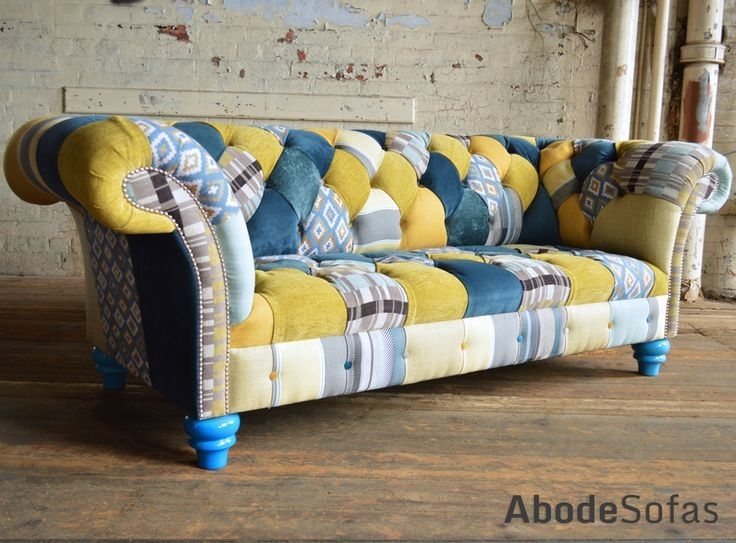 37 Best Patchwork Chesterfield Sofa & Chairs Images On Pinterest Inside Yellow Chintz Sofas (Image 1 of 10)