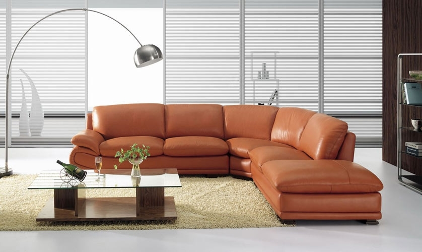 3920 Modern Camel Leather Sectional Sofa Throughout Camel Sectional Sofas (Image 1 of 10)