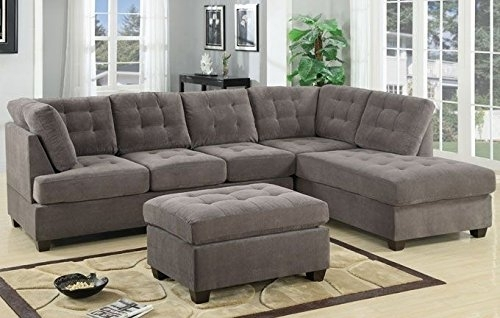 3Pc Modern Reversible Grey Charcoal Sectional Sofa Couch With Chaise Inside Sectional Sofas With Chaise And Ottoman (View 5 of 10)