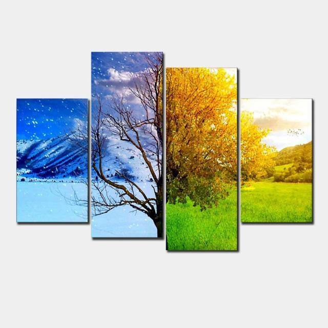 4 Panel Abstract Landscape Canvas Painting Wall Art Hand Painted Inside Abstract Landscape Wall Art (Photo 16 of 20)