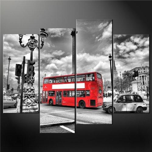 4 Panel Black White And Red London Red Bus Premium Cascade Canvas For London Canvas Wall Art (Photo 17 of 20)