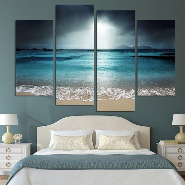 4 Panel Modern Wall Art Home Decoration Painting Canvas Wall Art With Regard To Beach Themed Canvas Wall Art (Image 3 of 20)