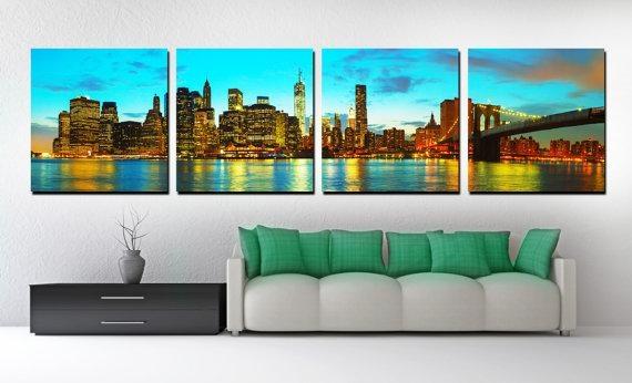 4 Panel Split New York Skyline Panoramic Canvas Print. Nyc Throughout Panoramic Canvas Wall Art (Photo 13 of 20)