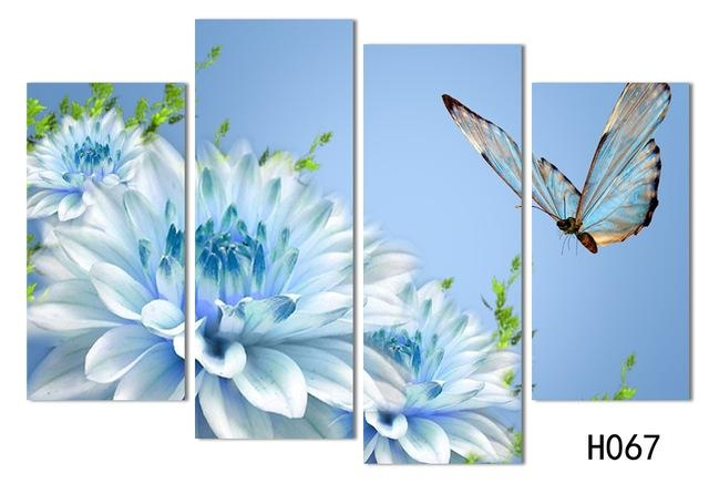 4 Panels Canvas White Flower With Butterfly Painting On Canvas Inside Butterflies Canvas Wall Art (Image 3 of 20)