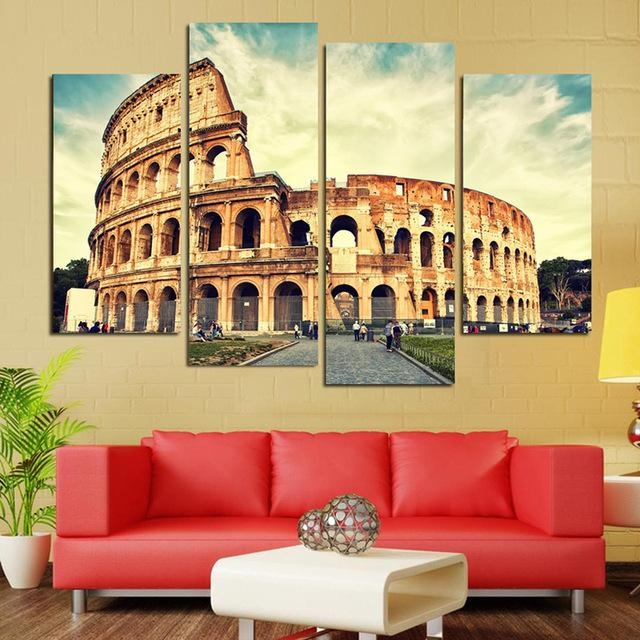 4 Panels Classical Architecture Scenery Rome Colosseum Print In Canvas Wall Art Of Rome (Image 3 of 20)