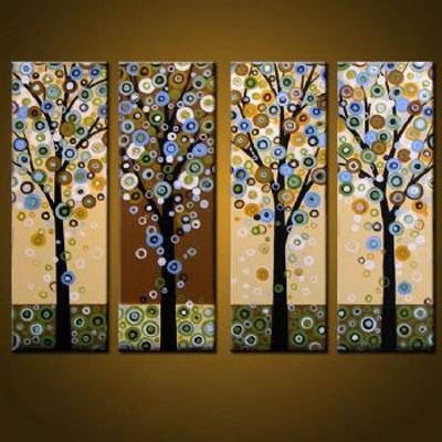 4 Pcs Abstract Canvas Art : Cheap Oil Paintings|Paintings For Sale Throughout Abstract Leaves Wall Art (Image 1 of 20)