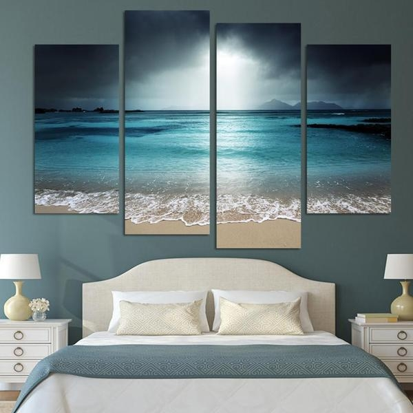4 Pcs Beach At Twilight Multi Panel Canvas Wall Art Modern Home Pertaining To Beach Canvas Wall Art (Photo 9 of 20)