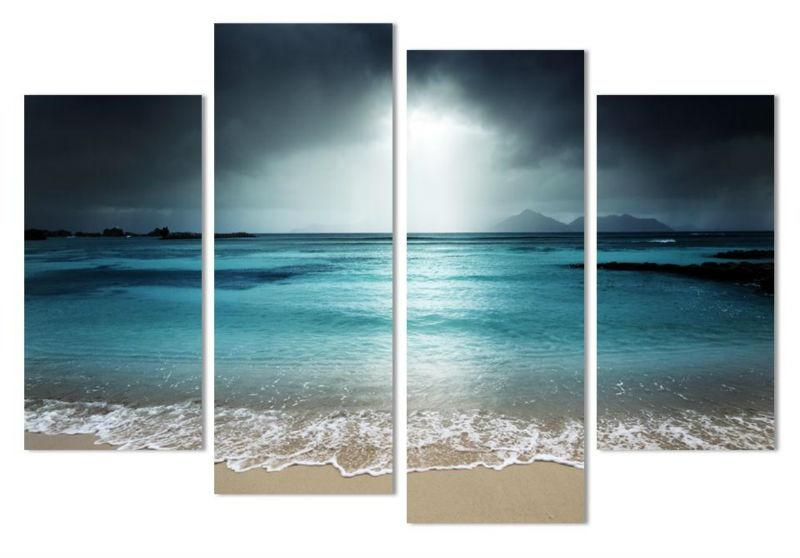 4 Pcs Beach At Twilight Multi Panel Canvas Wall Art Modern Home Within Landscape Canvas Wall Art (Image 4 of 20)