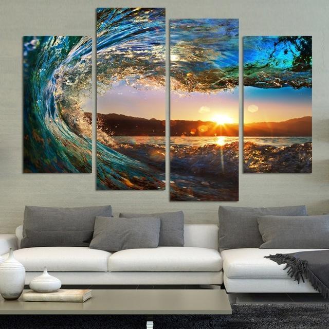 4 Pcs Modern Seascape Painting Canvas Art Hd Sea Wave Landscape In Landscape Canvas Wall Art (Image 5 of 20)