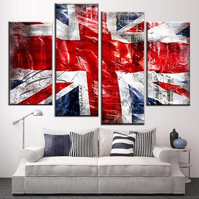 4 Pcs/set Still Live British Flag Wall Art Picture Modern Combined Within Union Jack Canvas Wall Art (View 2 of 20)