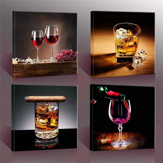 4 Piece Modern Kitchen Canvas Paintings Red Wine Cup Bottle Wall With Regard To Kitchen Canvas Wall Art (Image 3 of 20)