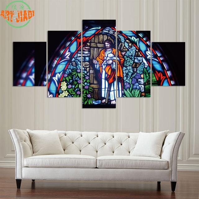 4 Piece/set Or 5 Pieces/set Canvas Art Glass Painting Of Jesus Intended For Jesus Canvas Wall Art (Image 1 of 20)
