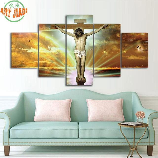 4 Piece/set Or 5 Pieces/set Canvas Art Jesus Christ On The Cross For Jesus Canvas Wall Art (Photo 15 of 20)