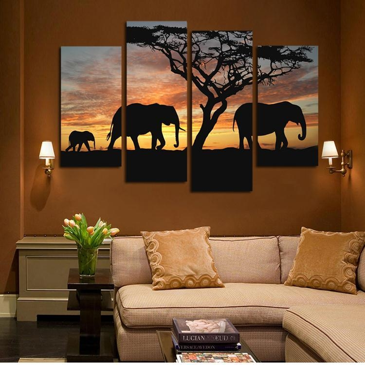 4 Pieces Canvas Wall Art Sunset Elephant Painting Canvas,africa Throughout Living Room Canvas Wall Art (Image 6 of 20)