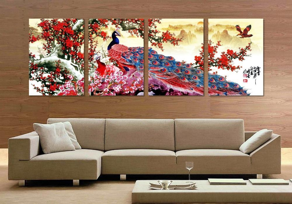 4 Pieces Long Tail Peacock Animal Traditional Chinese Style Flower Inside Birds Canvas Wall Art (Image 3 of 20)