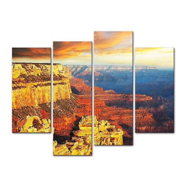 4 Pieces Modern Canvas Painting Wall Art National Park At Sunset With Arizona Canvas Wall Art (Image 4 of 20)