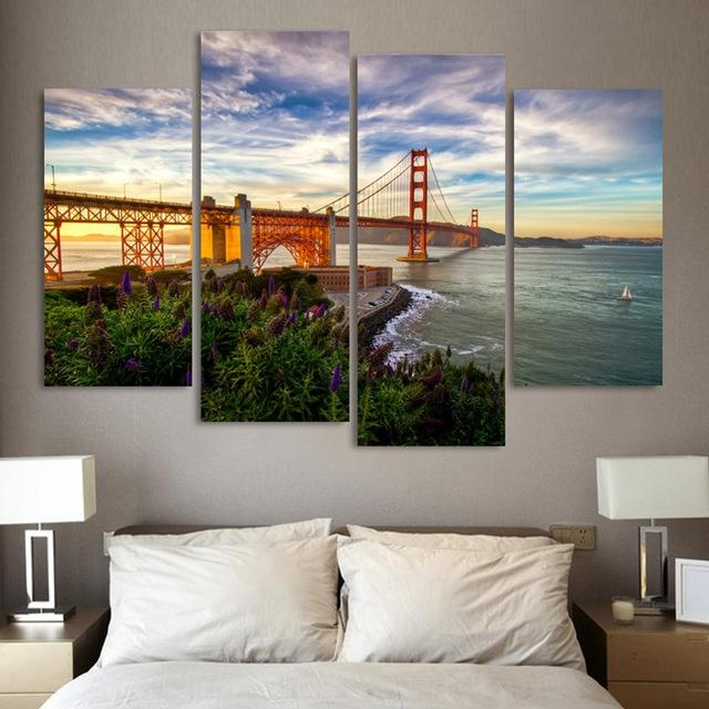 4 Pieces Mordern Wall Picture Canvas Painting Golden Gate Bridge Regarding Golden Gate Bridge Canvas Wall Art (View 6 of 20)